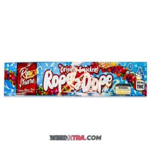 Buy Blueberry THC 500mg Rope a Dope online, an amazing 2 in 1 snack combining a tasty candy rope with a coat of tiny sour candies and 500mg of THC.