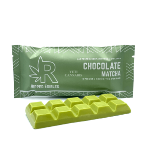 Buy Ripped Edibles MatchaChocolateBar infused with 400mg THC per bar and filled with sweet and delicious berry flavors making.